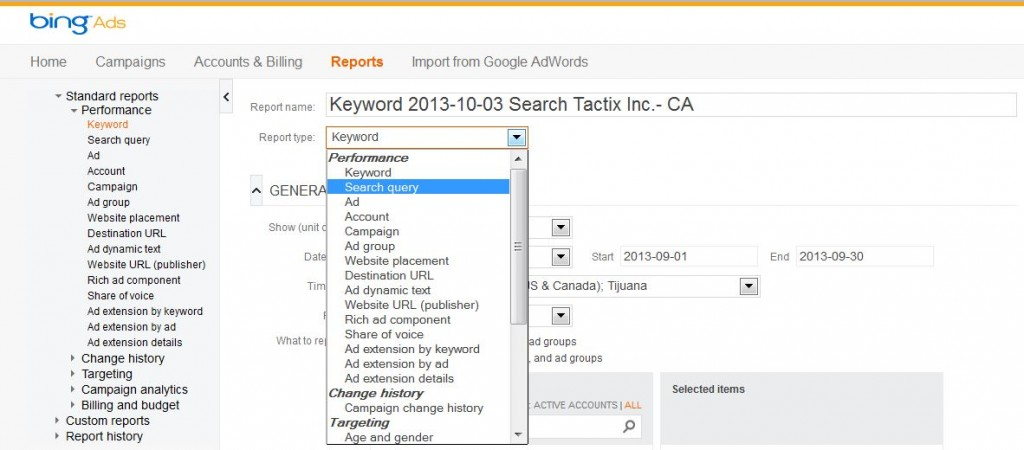 Bing Ads Search Query Report
