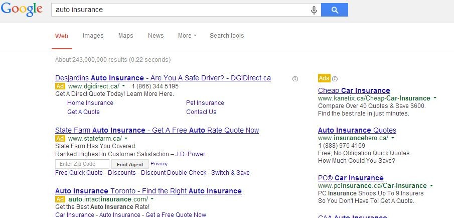 Google's Yellow Ad Icon in Paid Search Ads