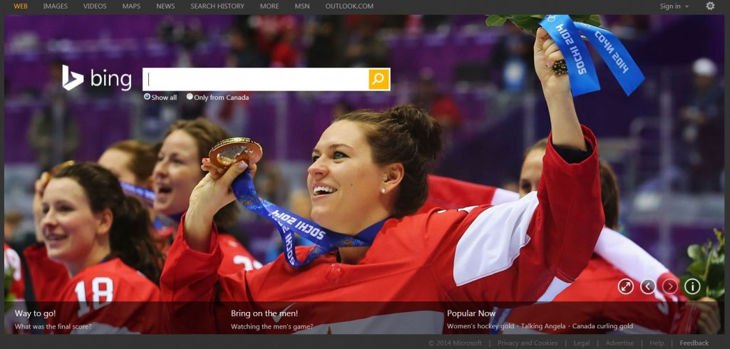 Bing Canada celebrates the women's hockey gold medalists