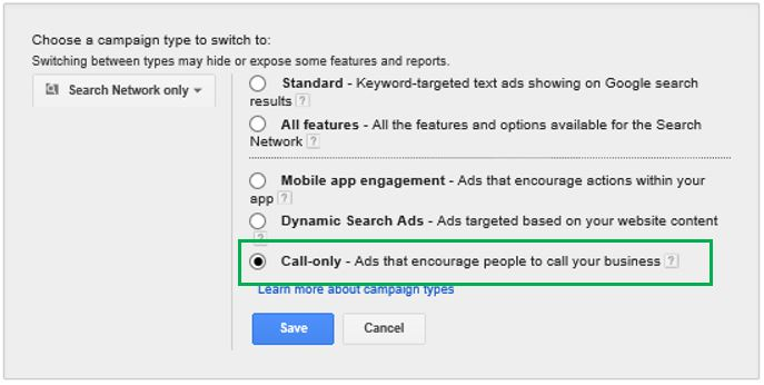 Google Call Only Campaign